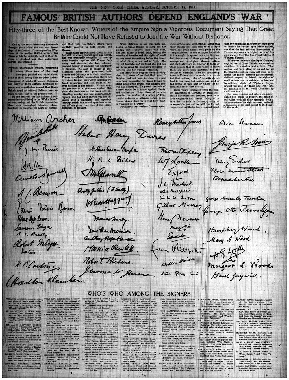 Editor. (Oct. 18, 2014). Famous British Authors Defend England's War. The New York Times.