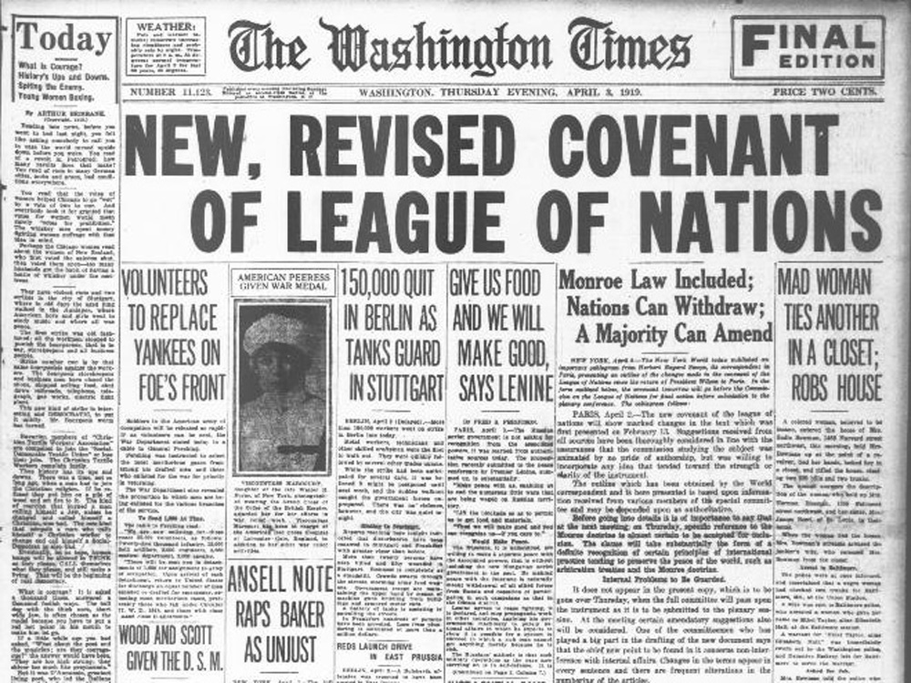 Editor. (Apr. 03, 1919). New, Revised Covenant of League of Nations. The Washington Times.