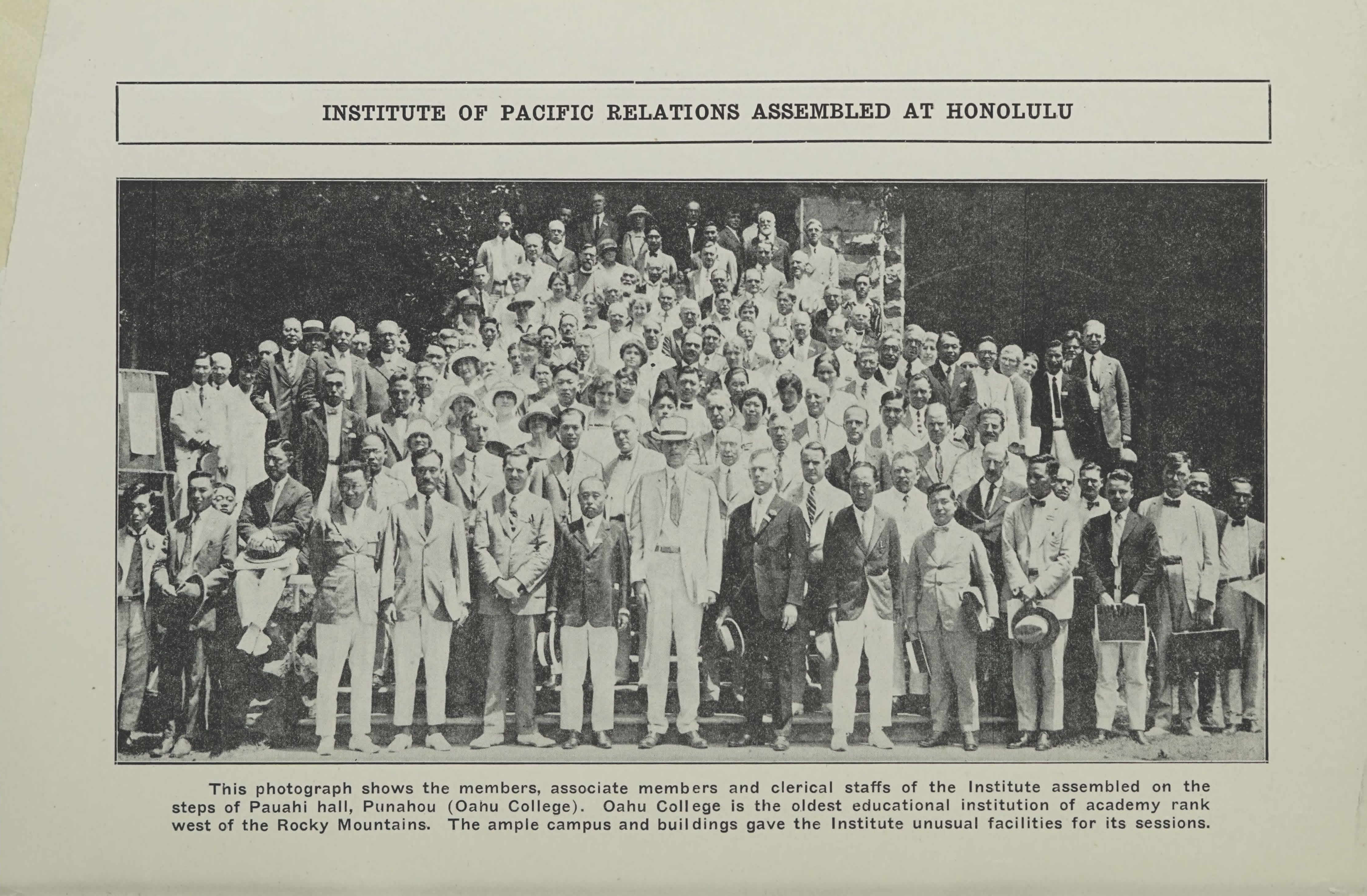 Ray Lyman Wilbur, chairman. (Jun. 30-Jul. 14, 1925). Organizing Conference Record, PROCEEDINGS, Institute of Pacific Relations, Honolulu, Hawaii, p. 2. Institute of Pacific Relations.
