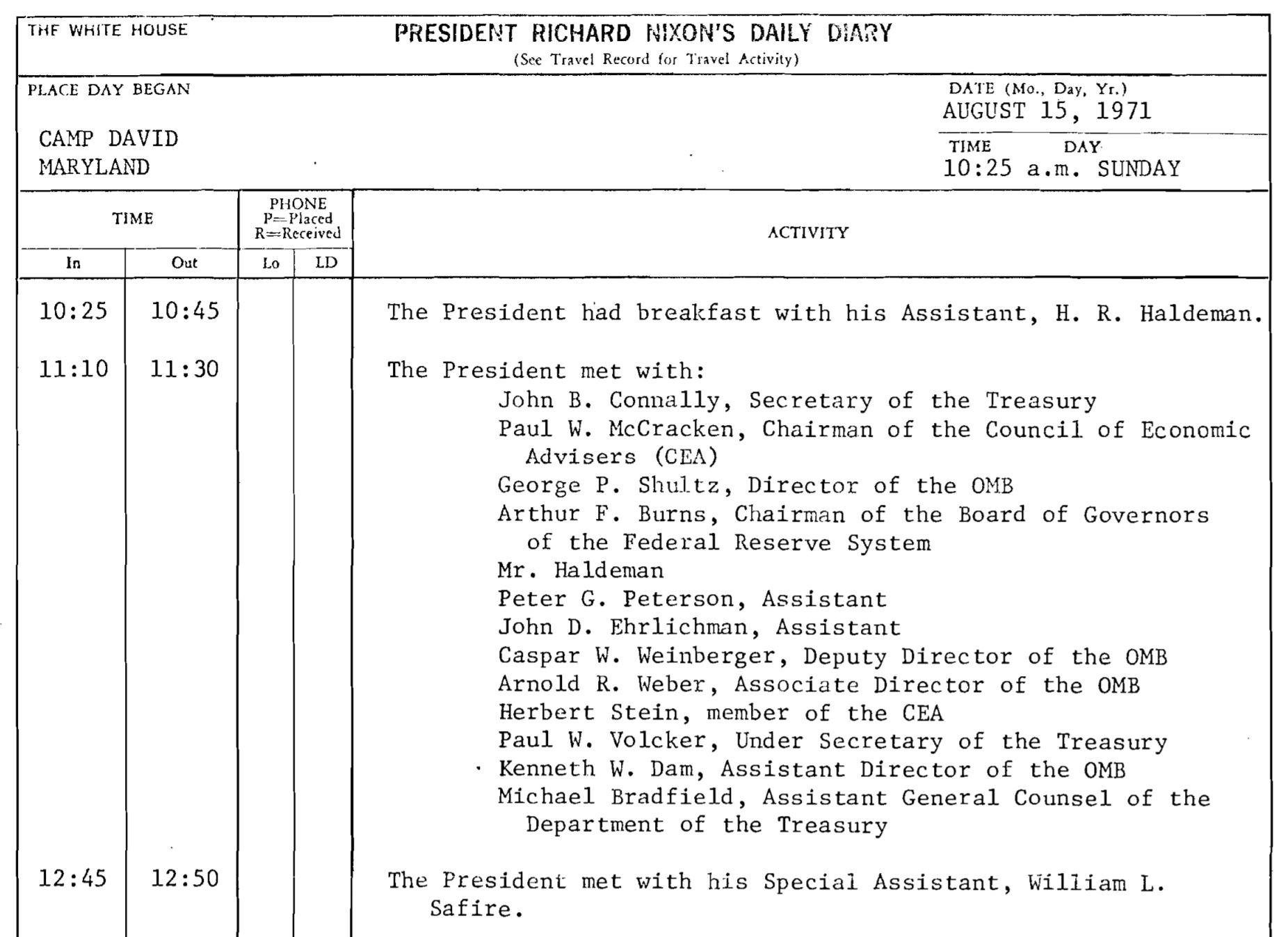 Richard M. Nixon. (Aug. 01-15, 1971). Richard Nixon's Daily Diary, Aug. 01-15, 1973, PDF p. 88. Richard Nixon Presidential Library.