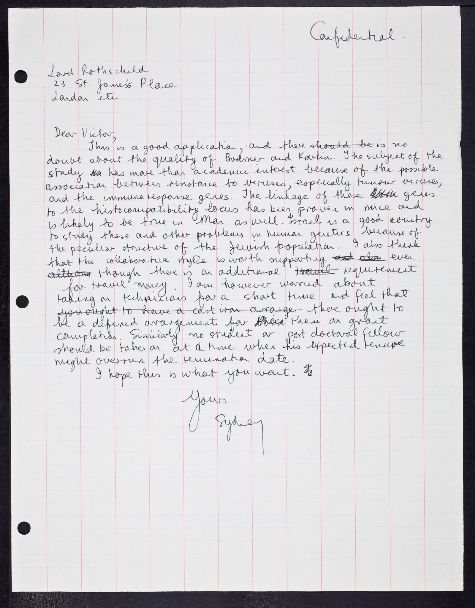 Sydney Brenner. (ca. 1972). Confidential handwritten letter from Sydney Brenner to Victor Rothschild re. genes, viruses, human virus experimentation in UK care homes Bodmer and Kevlin, and Israel and Jewish populations., SB/1/1/561, Item No. 64627. CHSL Archives Repository.