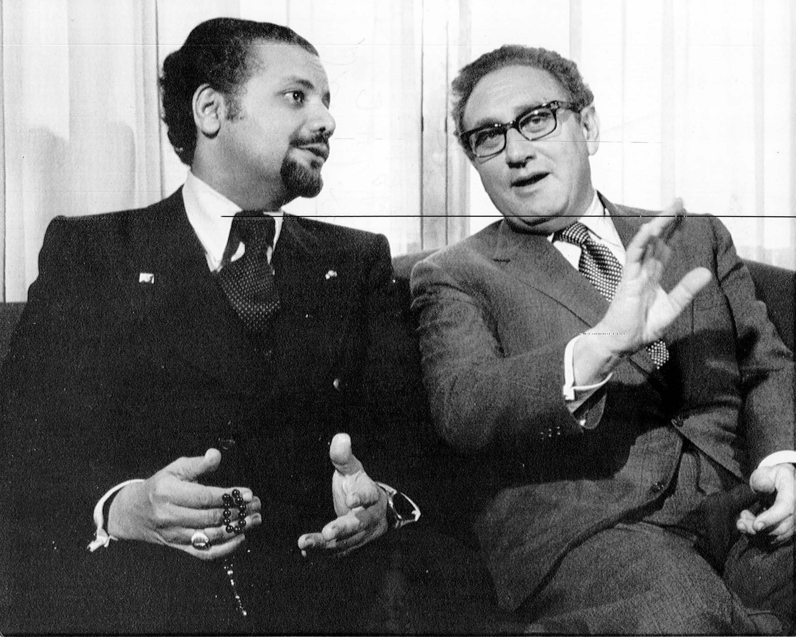 Henry A. Kissinger. (Dec. 05, 1973). MEET FOR TALKS with Saudi Arabia's oil minister Ahmed Zaki Yamani at the State Department. AP Wirephoto.