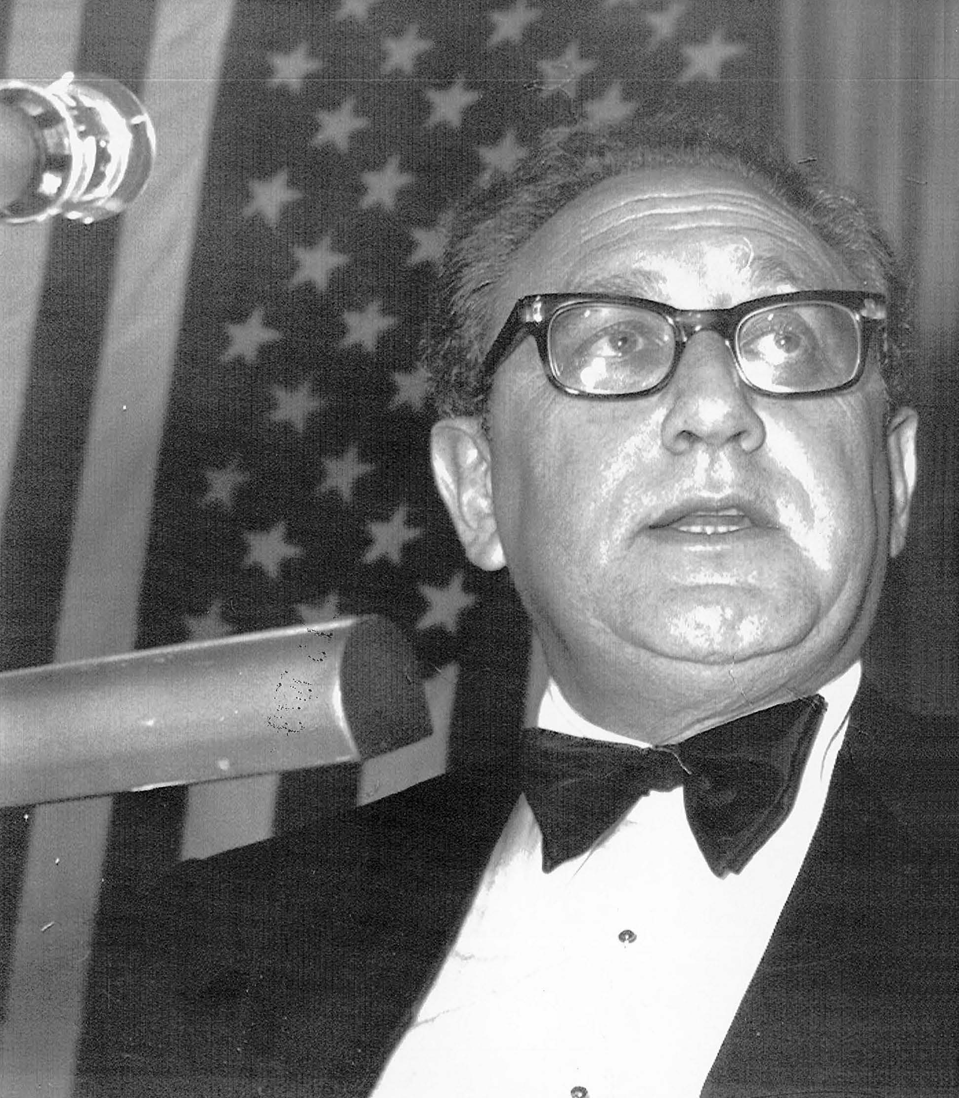 Henry A. Kissinger. (Dec. 12, 1973). PHOTO 1: U.S. Secretary of State delivers major oil crisis speech to the Pilgrims Society at the London Europa Hotel. AP Wirephoto.