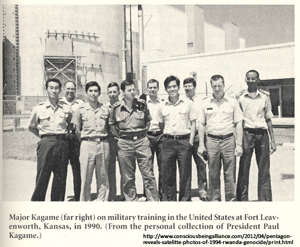 At the time of the October 1990 invasion of Rwanda, Paul Kagame was being trained by the globalist rogue C.I.A. at the Pentagon's General Staff and Command College at Fort Leavenworth, in Kansas (USA). Kagame returned and led the four year war that resulted in the deaths of perhaps several hundred thousand Hutu people between October 1990 and April 1994 alone. From Keith Harmon Snow. (Apr. 05, 2012). Pentagon Produces Satellite Photos Of 1994 Rwanda Genocide, p. 4. Conscious Being Alliance.