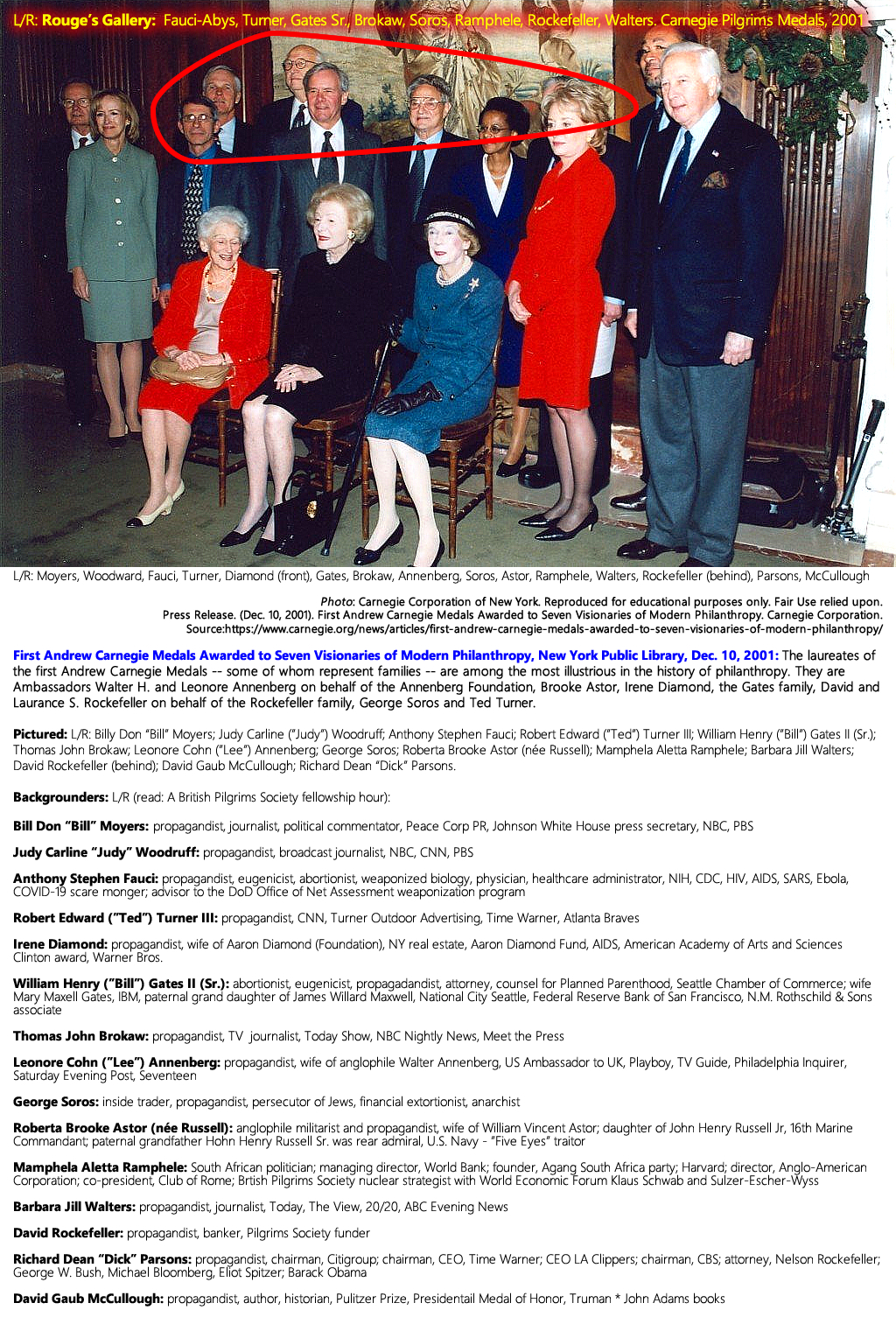Press Release. (Dec. 10, 2001). First Andrew Carnegie [Pilgrims Society] Medals Awarded to Seven Visionaries of Modern Philanthropy. Carnegie Corporation.
