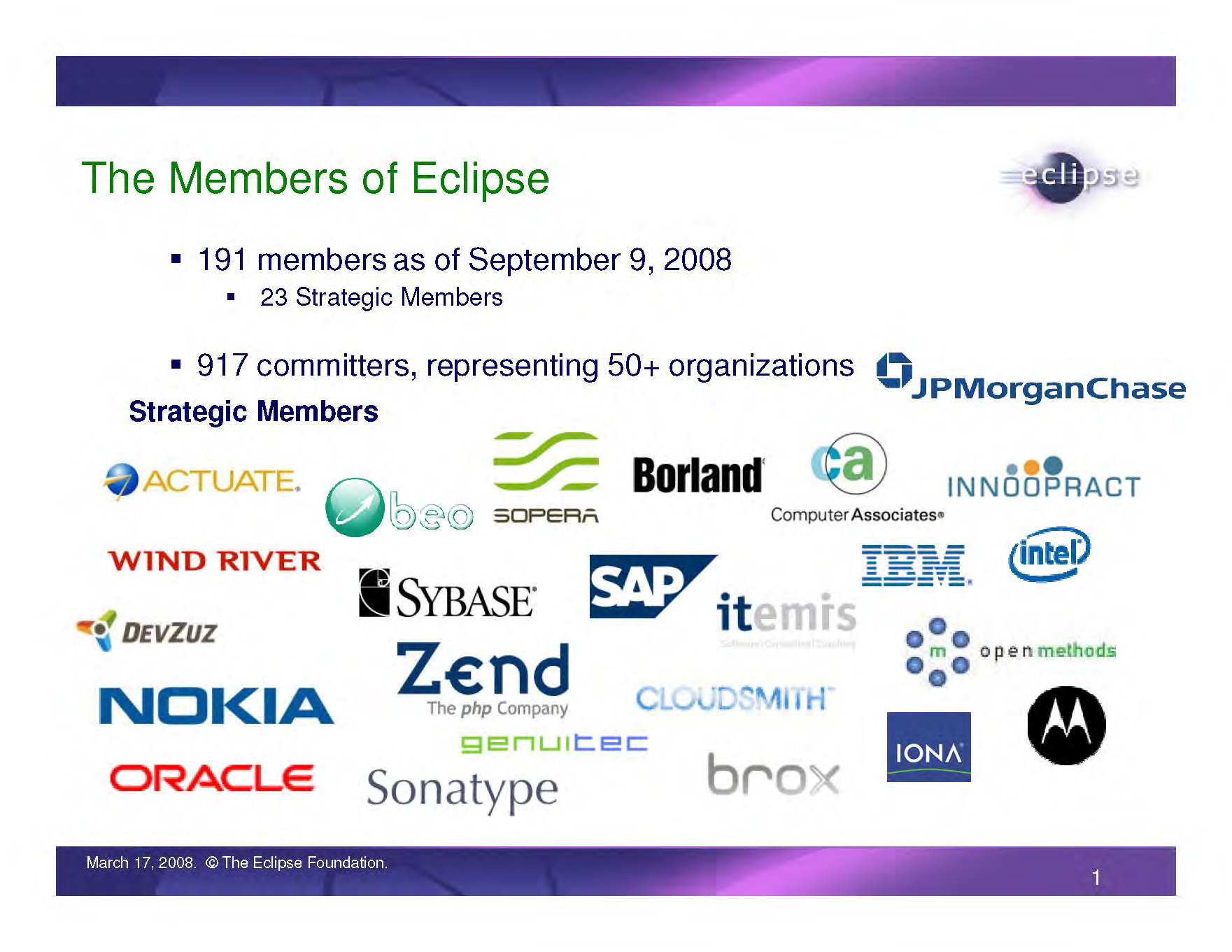 IBM Eclipse Foundation Membership logos, Page 1, as of Sep. 9, 2008 (Actuate, Beo, Borlan, Brox, Cloudsmith, Computer Associates, DevZuz, GenuiTec, IBM, Innoopract, Iona, Itemis, JPMorgan Chase, Motorola, Nokia, Open Methods, Oracle, SAP, Sonatype, SOPERA, Sybase, Wind River, Zend)