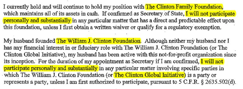 Hillary Clinton's Jan. 05, 2009 ethics statement