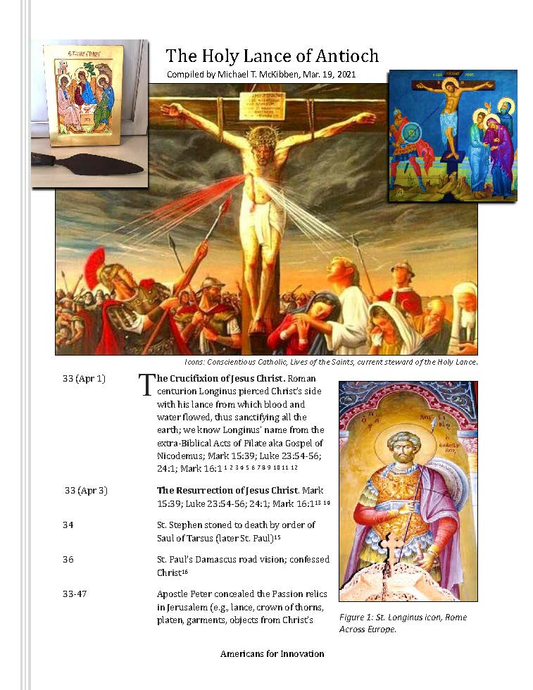 The Holy Lance of Antioch. (Mar. 19, 2018). Timeline compiled by Michael T. McKibben. Americans for Innovation.