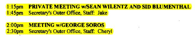 Hillary Clinton's unpublished meetings on Mar. 23, 2012 with George Soros and Sidney Blumenthal