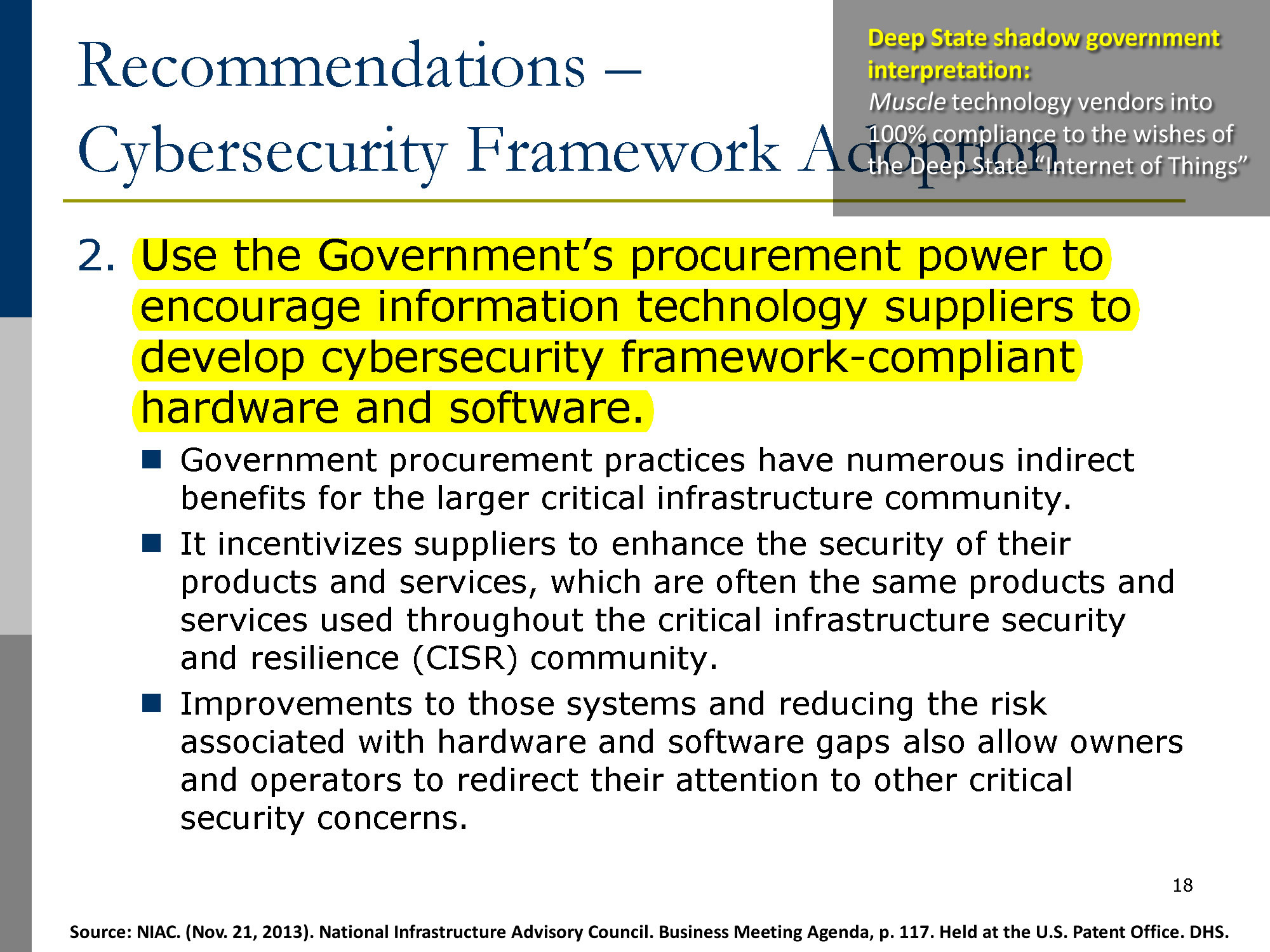 NIAC. (Nov. 21, 2013). National Infrastructure Advisory Council. Business Meeting Agenda, p. 117. Held at the U.S. Patent Office. DHS.
