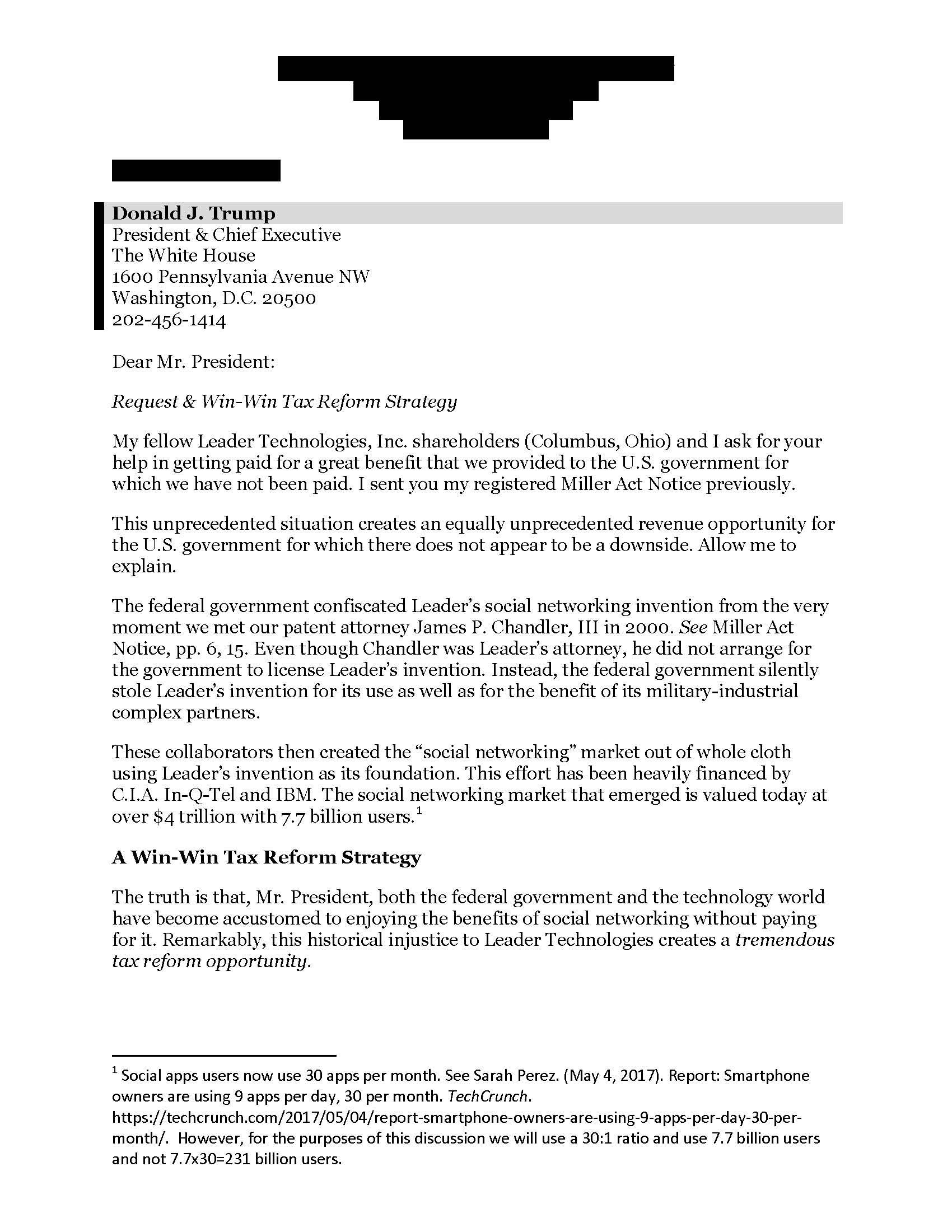 Leader Technologies Tier II Miller Act Notice cover letter to Donald Trump, Sep. 29, 2017, page 1