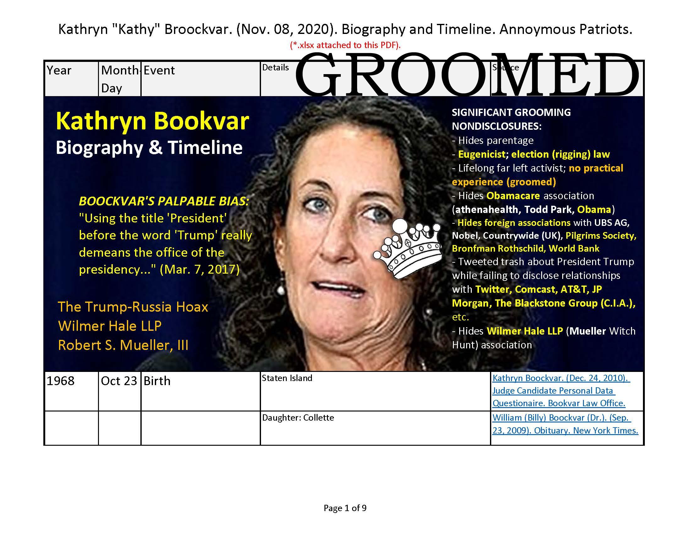 Kathryn 'Kathy' Broockvar. (Nov. 08, 2020). Biography and Timeline. Anonymous Patriots.
