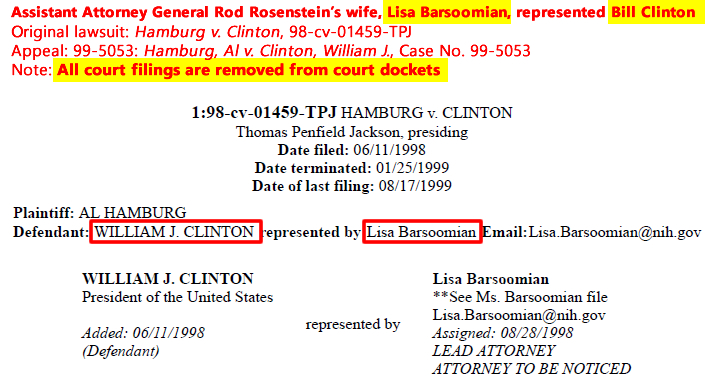 Lisa Barsoomiam. (Jun. 11-1998). Representation of William J. Clinton in Hamburg v. Clinton, 98-cv-01459-TPJ. PACER.gov