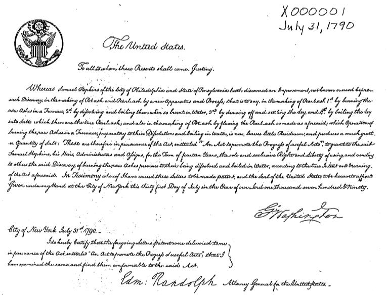 U.S. Patent No. X0000001, July 31, 1790 issued to Samuel Hopkins, signed by President George Washington