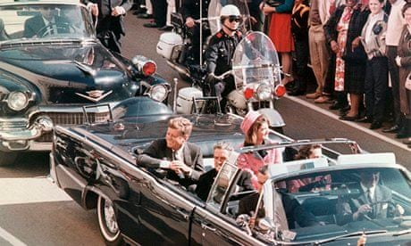 President John F. Kennedy and his wife, Jackie, in the Dallas TX motorcade moments before he was shot on Nov. 22, 1963. Photograph: Bettmann/Corbis