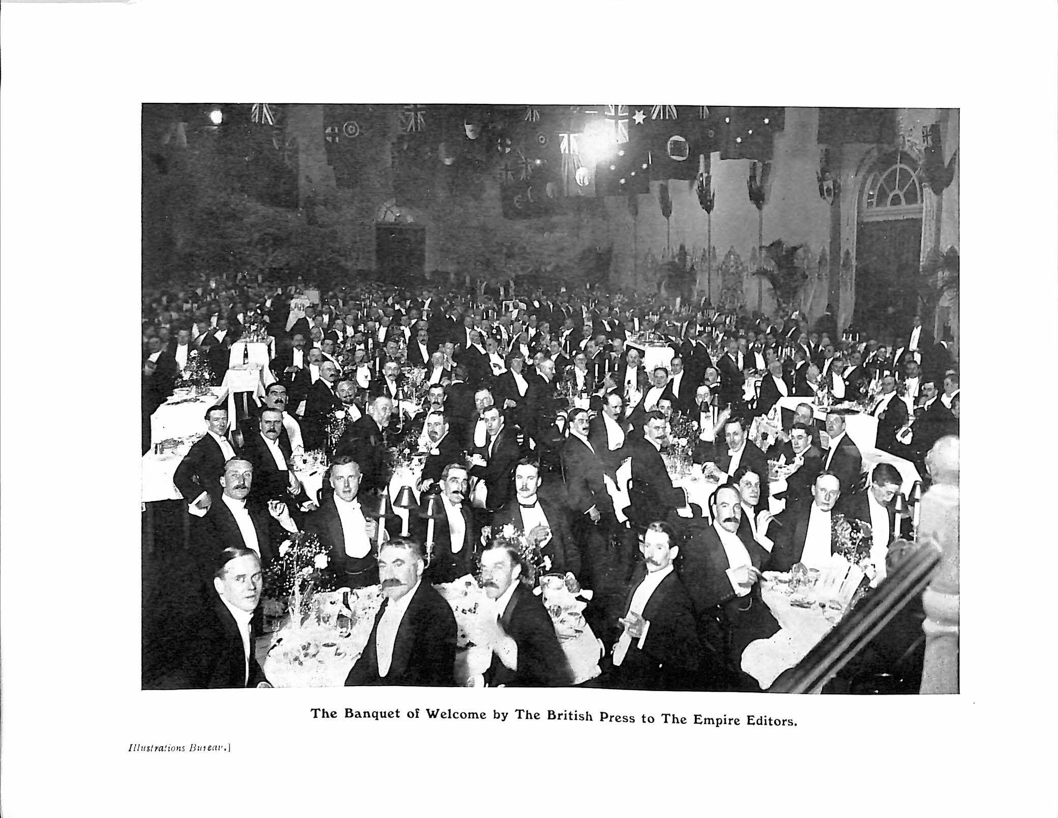 Thomas H. Hardman, ed. pub. (Jun. 05-26, 1909). A PARLIAMENT OF THE PRESS - THE FIRST IMPERIAL PRESS CONFERENCE, 1909, Illustrated, with Preface by The Earl of Rosebery, K.G., p. 8a. London: Horace Marshall & Son.