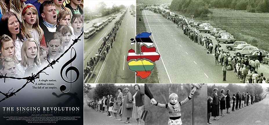 On Aug. 23, 1989, some 2,000,000 singing citizens from Estonia, Latvia and Lithuania joined hands in a chain across the Baltic from Tallinn through Rīga to Vilnius, the Baltic capital cities. This event was called The Baltic Way, The Baltic Chain, The Chain of Freedom and The Singing Revolution. Photos: The Singing Revolution, Inspired, OMIP.lv.
