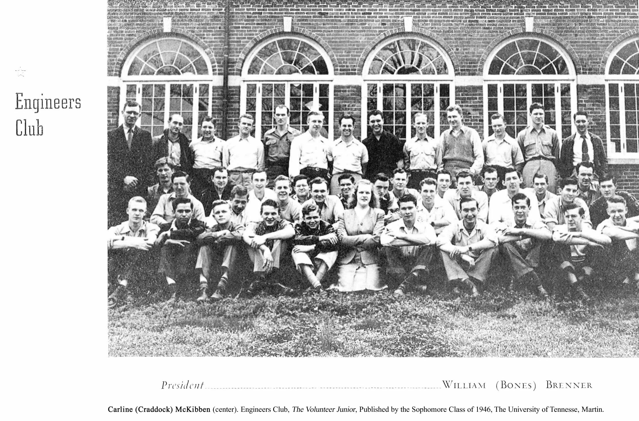 University of Tennessee, Martin, Engineer's Club, 1945-46, First Female Member, Carline Craddock McKibben (front and center). Source: Volunteer Junior, p. 7
