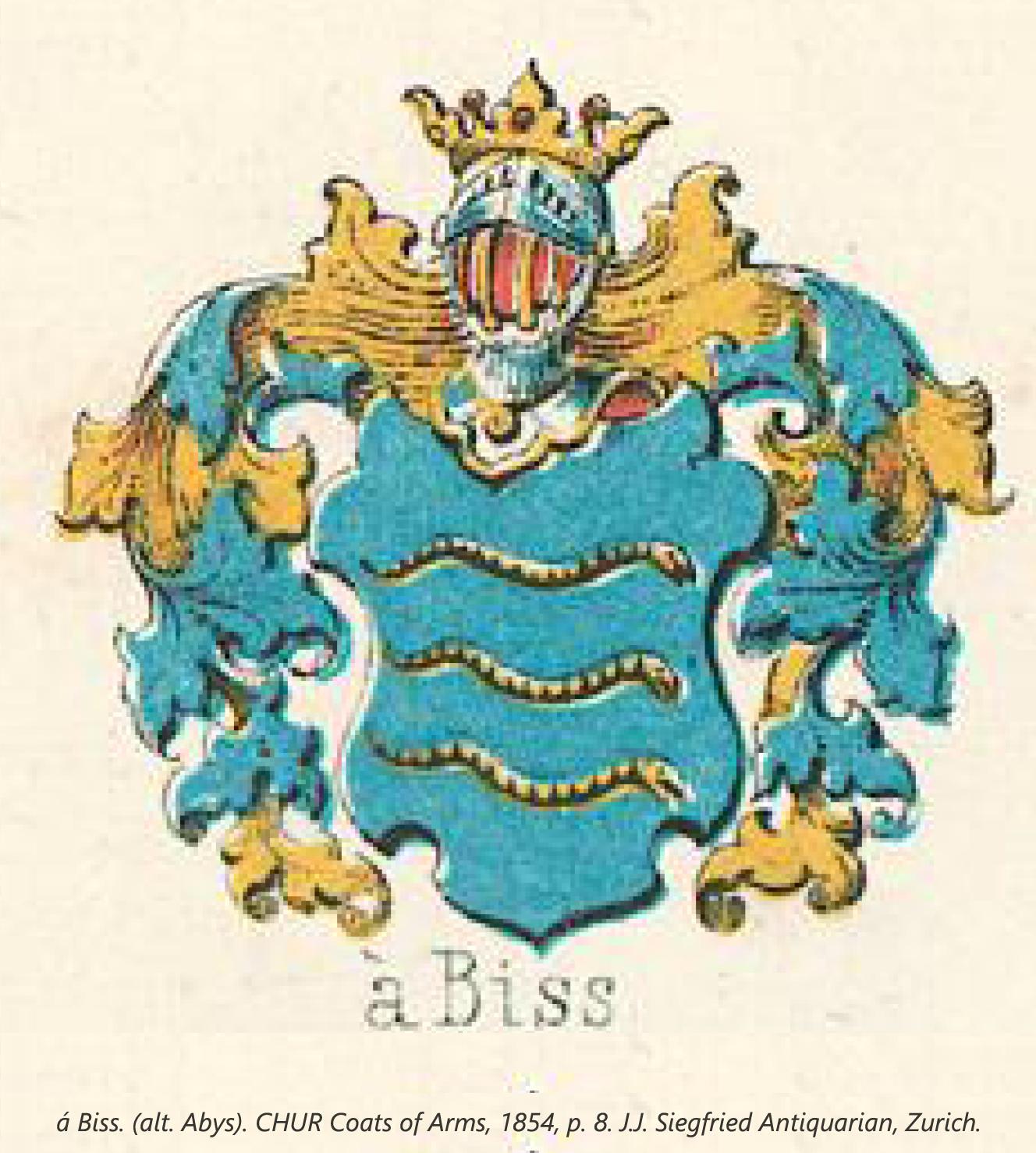 Abysvel, Abifs. (alt. Abys). CHUR Coats of Arms, 1854, p. 8. J.J. Siegfried Antiquarian, Zurich.