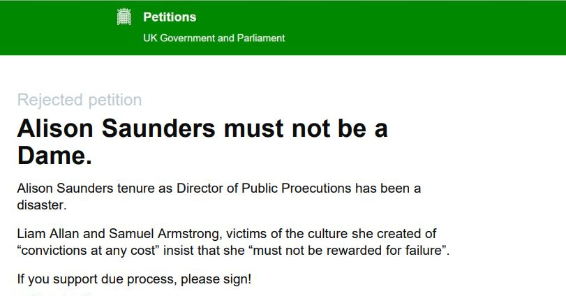 MPs. (Oct. 22, 2018). Petition: Alison Saunders must not be a Dame. UK Parliament.