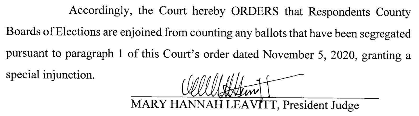 ORDER. (Nov. 12, 2020). Donald J. Trump for President Inc. v. Kathy Boockvar and County Boards of Elections, Case No. 602 MD 2020, President Judge Mary Hannah Leavitt (Pa. Commw. Ct. 2020).