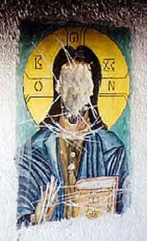 Icon of Christ the Savior defaced by the Islamist Kosovo Liberation Army (KLA)