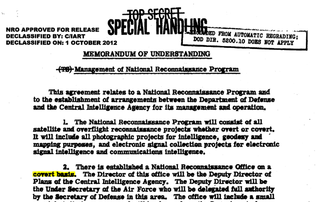 Robert S. McNamara, SECDEF. (Aug. 07, 1961). TOP SECRET: Management of National Reconnaissance Program, Agreement with Allen W. Dulles, CIA, Declassified Oct. 01, 2012 by C/IART, NRO. USAF.