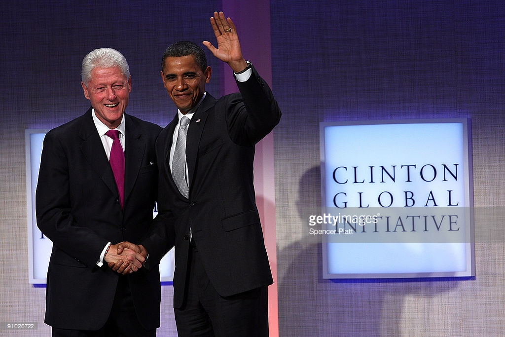 President Barack Obama (R) stands with former President Bill Clinton before speaking at the Fifth Annual Meeting of the Clinton Global Initiative (CGI) on September 22, 2009 in New York City. The Fifth Annual Meeting of the Clinton Global Initiative (CGI) brings together leaders in politics, business, science, academics and religion to discuss global issues such as climate change and peace in the Middle East. Getty Images.