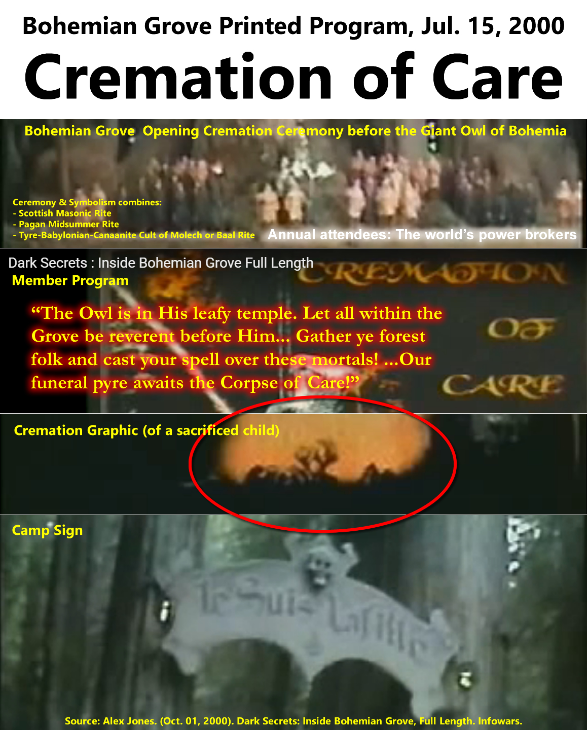 "Bohemian Grove Cremation of Care program, Jul. 15, 2000 - Bohemian Grove Printed Program, Jul. 15, 2000 Cremation of Care. Annual attendees: The world's power brokers. Bohemian Grove  Opening Cremation Ceremony before the Giant Owl of Bohemia. Ceremony & Symbolism combines: - Scottish Masonic Rite - Pagan Midsummer Rite - Tyre-Babylonian-Canaanite Cult of Molech or Baal Rite. Member Program. ""The Owl is in His leafy temple. Let all within the Grove be reverent before Him... Gather ye forest folk and cast your spell over these mortals! ...Our funeral pyre awaits the Corpse of Care!"" Cremation Graphic (of a sacrificed child). Camp Sign."