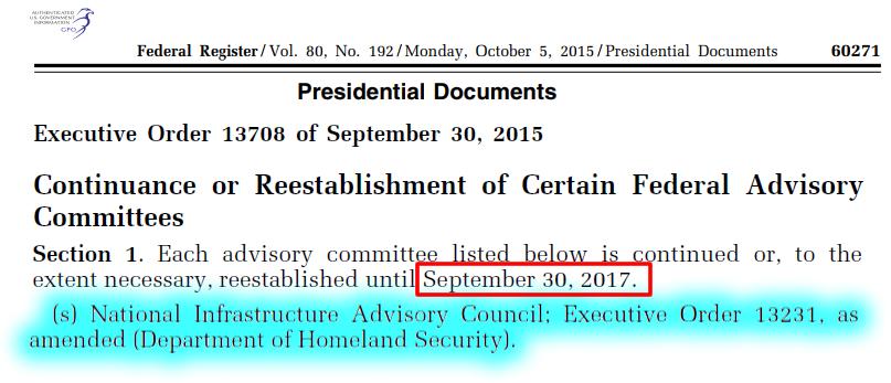 Executive Order 13708, NIAC expiration, Sep. 30, 2017