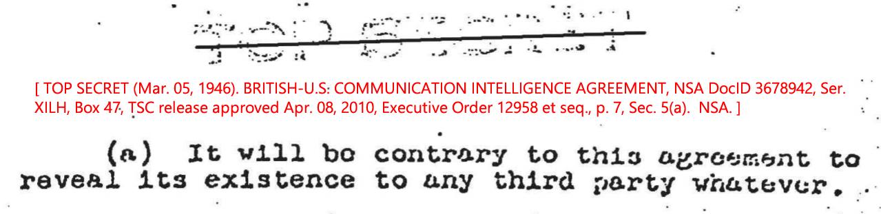 TOP SECRET (Mar. 05, 1946). BRITISH-U.S. COMMUNICATION INTELLIGENCE AGREEMENT, NSA DocID 3678942, Ser. XILH, Box 47, TSC release approved Apr. 08, 2010, Executive Order 12958 et seq., p. 7, Sec. 5(a). NSA.
