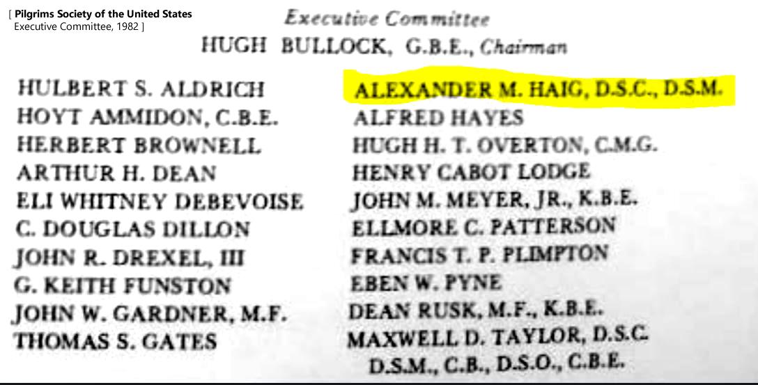 Alexander Haig Pilgrims Society Officer 1982