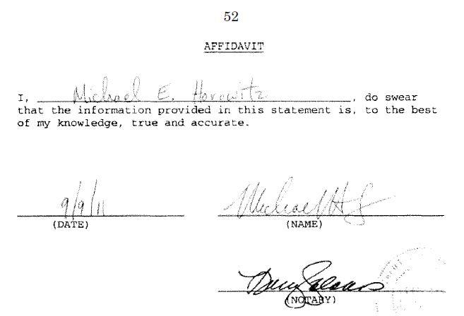 Michael E. Horowitz's Ethics Statement Affidavit