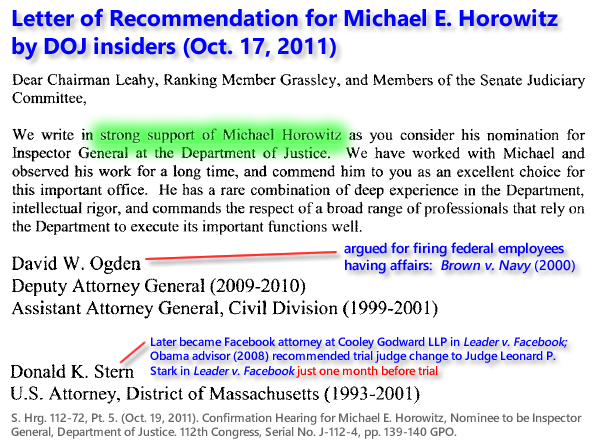 S. Hrg. 112-72, Pt. 5. (Oct. 19, 2011). Confirmation Hearing for Michael E. Horowitz, Nominee to be Inspector General, Department of Justice. 112th Congress, Serial No. J-112-4, pp. 139-139 GPO.