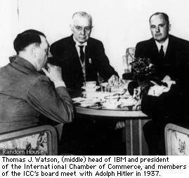 Thomas J. Watson (middle) head of IBM and president of the International Chamber of Commerce, and members of the ICG's board meet with Adolf Hitler in 1937.