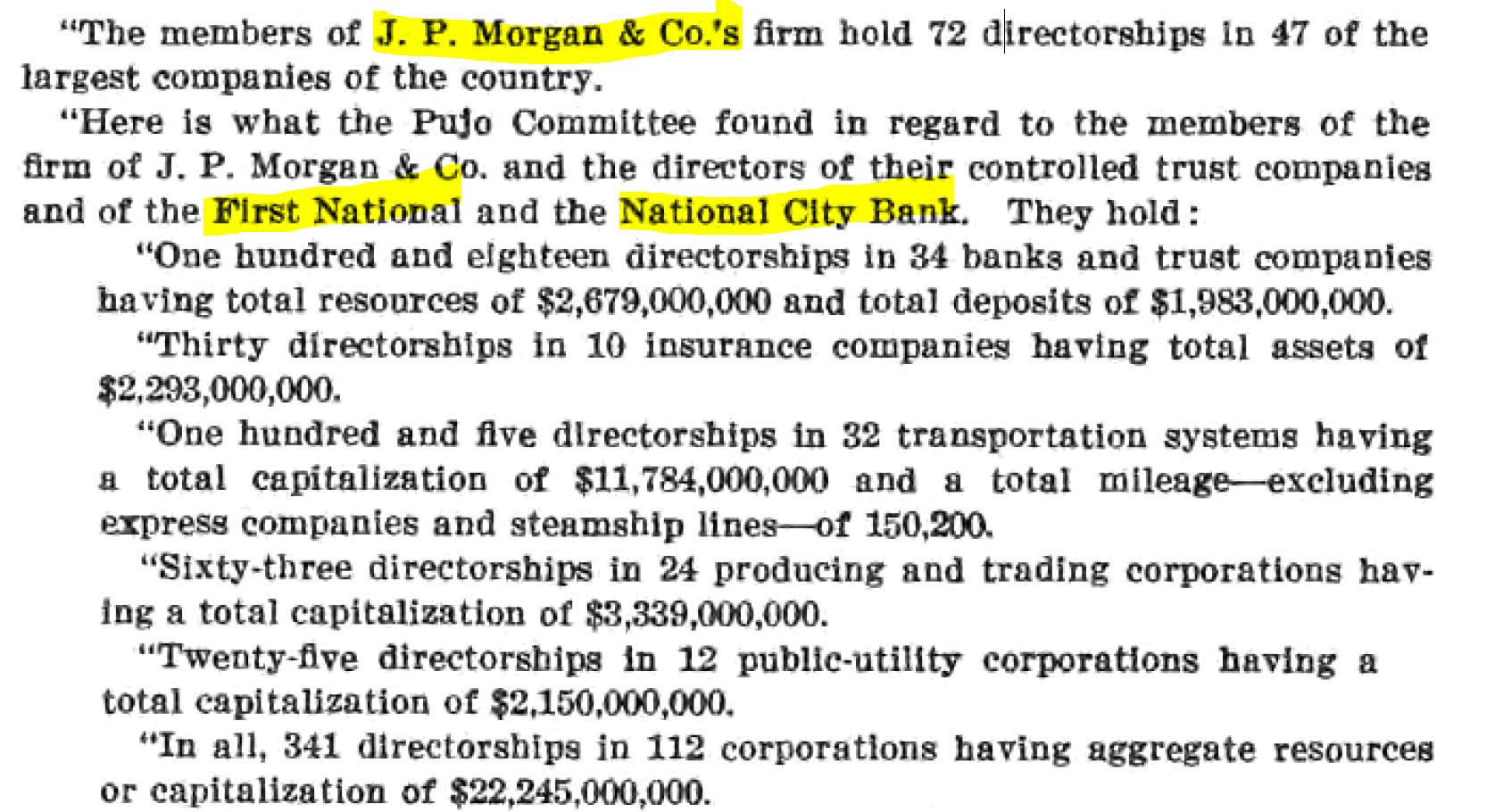 James M. Mead, Chairman. (Jun. 30, 1950). Report on Interlocking Directorates, p. 22. U.S Federal Trade Commission.