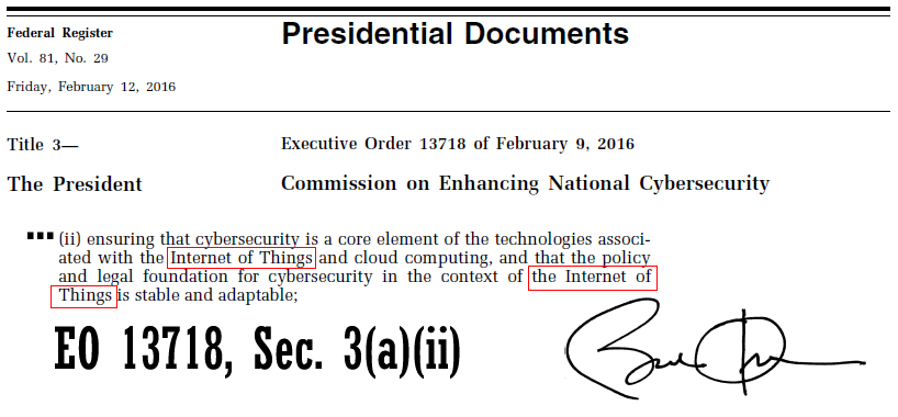 Executive Order 13718. (Feb. 12, 2016). Commission on Enhancing National Cybersecurity. Federal Register.