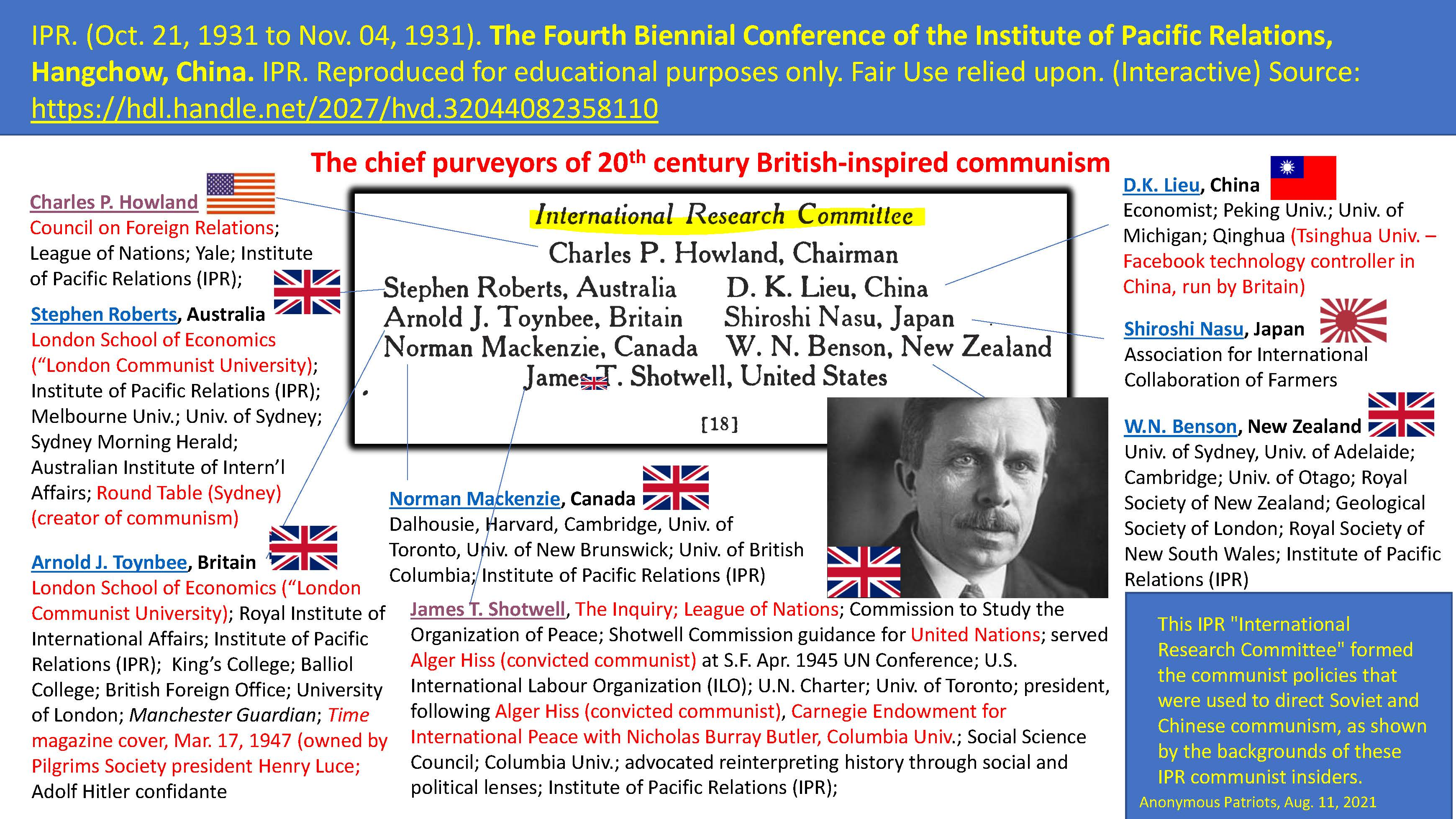 IPR. (Oct. 21, 1931 to Nov. 04, 1931). The Fourth Biennial Conference of the Institute of Pacific Relations (IPR), Hangchow, China. IPR.
