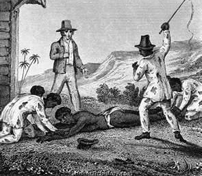 Systemic whipping was a part of daily existence for the slaves of a Jamaican plantation. 39 lashes per incident was the British legal limit, but often went higher.