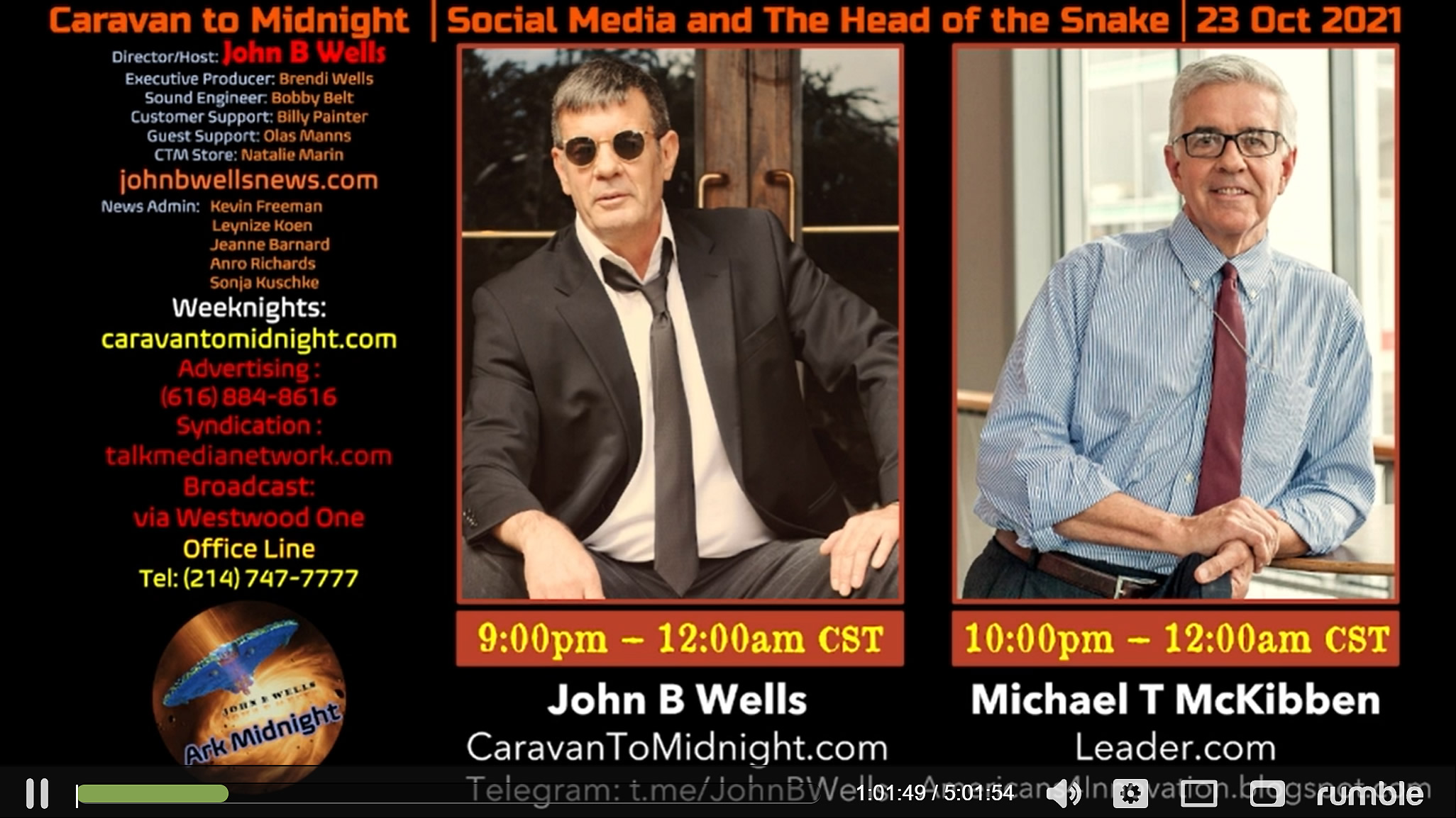 John B. Wells Live. (Oct. 24, 2021). Social Media and The Head of the Snake, interview with Michael McKibben, Leader Technologies - John B Wells Live. Rumble.