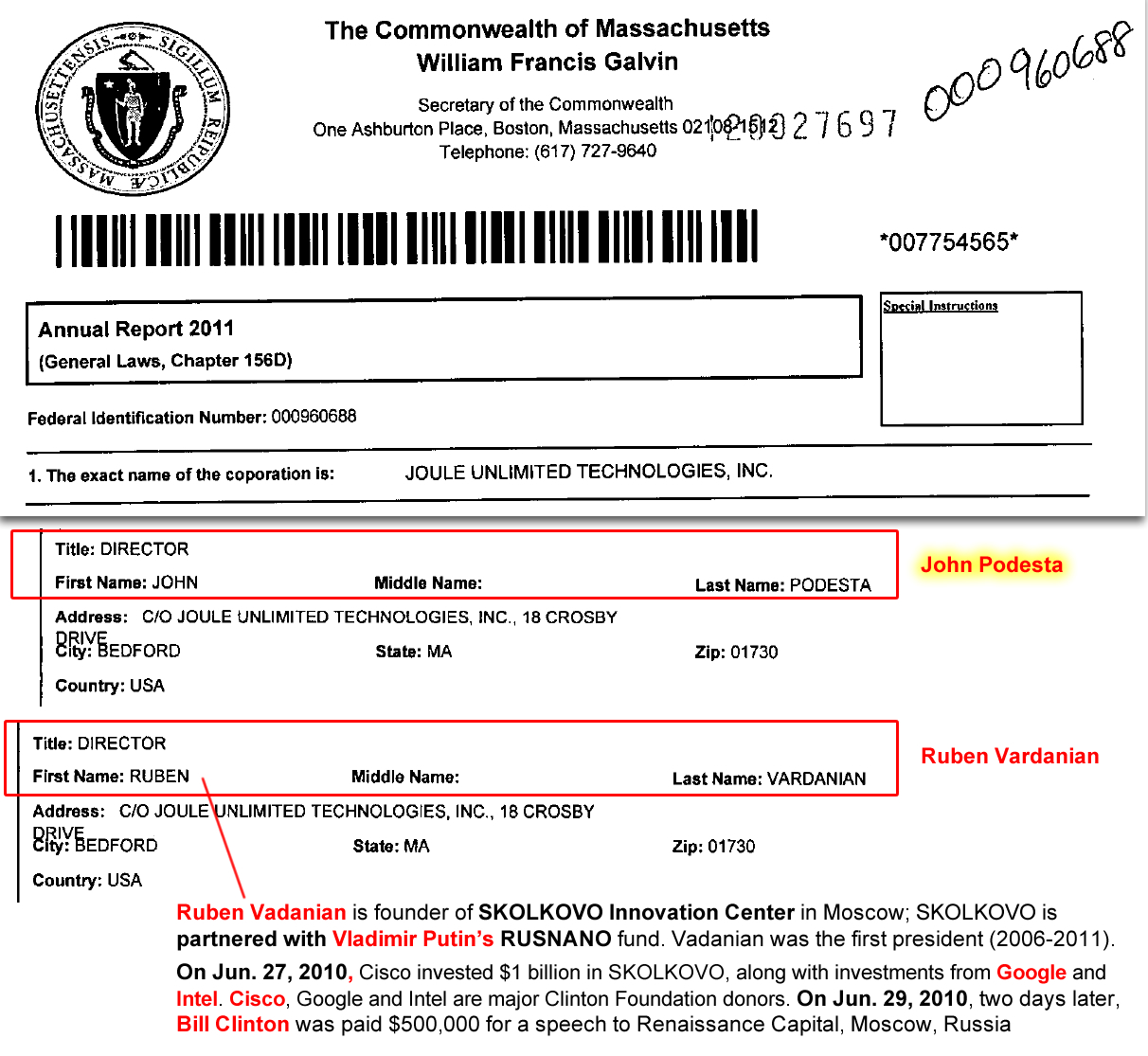 Joule Unlimited. (Dec. 31, 2011). Annual Report for Joule Unlimited Technologies Inc., John Podesta, Director. Fed. EIN 000960688MA. Secretary of the Commonwealth of Massachusetts.