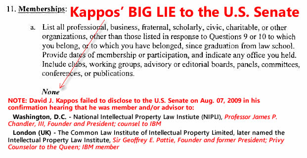 S. Hrg. 111-695, Pt. 3. (Jul. 29, 2009). Statement of David J. Kappos at Confirmation Hearing to be Director of the U.S. Patent Office. U.S. Senate Judiciary Committee, p. 89. GPO (42.2 MB).