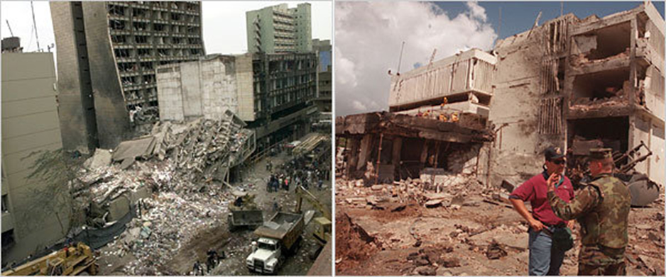 American Embassy bombings in Kenya, left, and Tanzania in 1998. Photos: Dave Caulkin/Associated Press, left; Brennan Linsley/Associated Press.