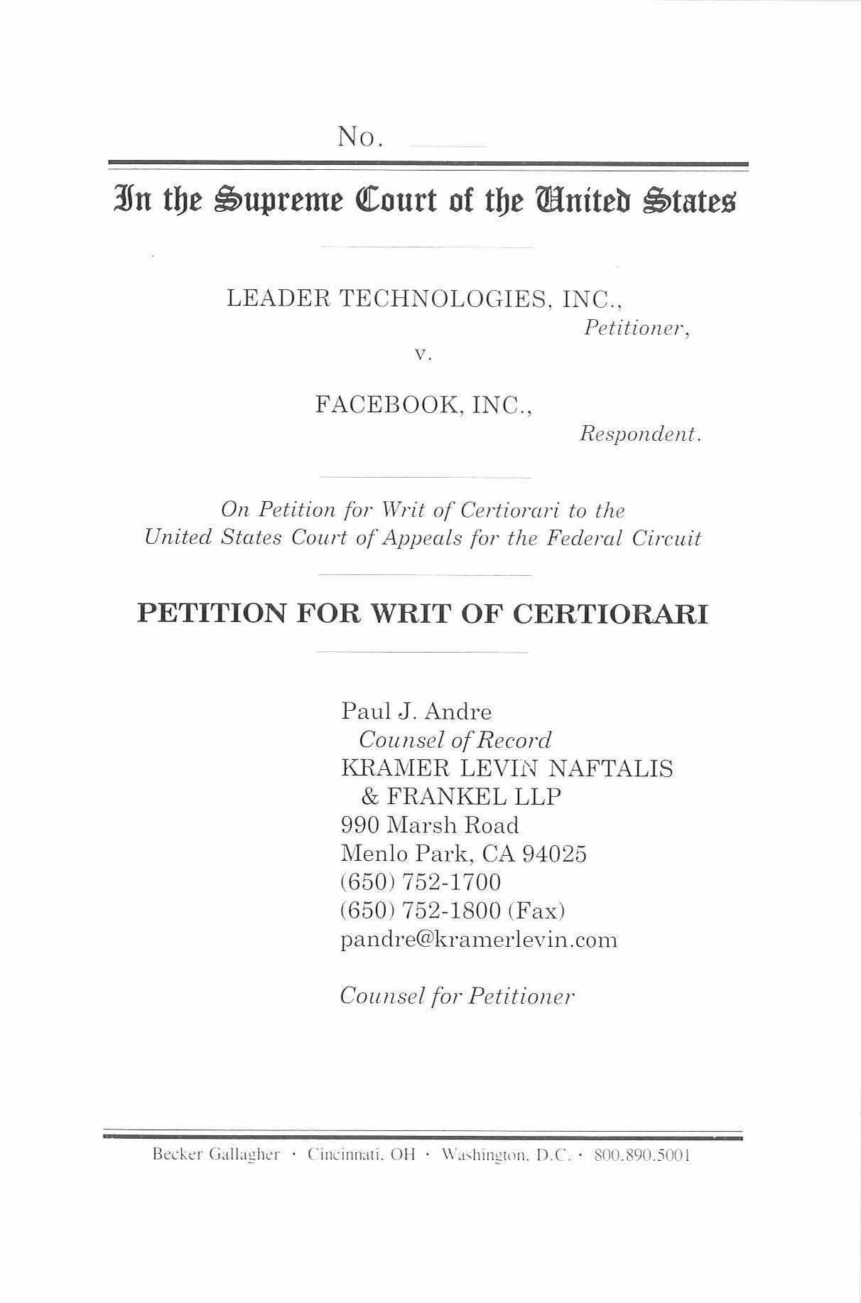 Petition for Writ of Certiorari, Leader Technologies, Inc., v. Facebook, Inc., No. 12-617 (U.S. Supreme Court 2012), filed Nov. 16, 2012.
