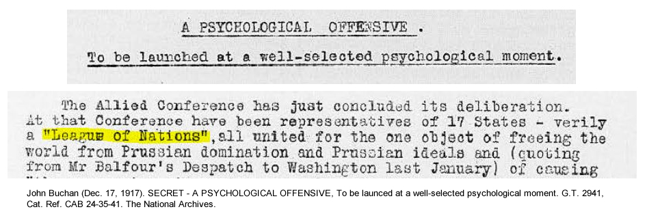 John Buchan (Dec. 17, 1917). SECRET - A PSYCHOLOGICAL OFFENSIVE, To be launced at a well-selected psychological moment. G.T. 2941, Cat. Ref. CAB 24-35-41. The National Archives.