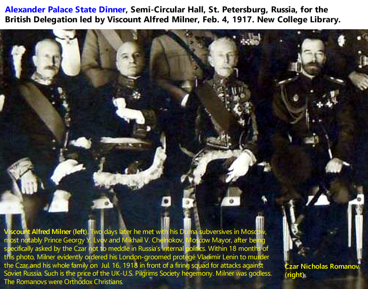 Alexander Palace State Dinner, Semi-Circular Hall, St. Petersburg, Russia, for the British Delegation led by Viscount Alfred Milner, Feb. 4, 1917