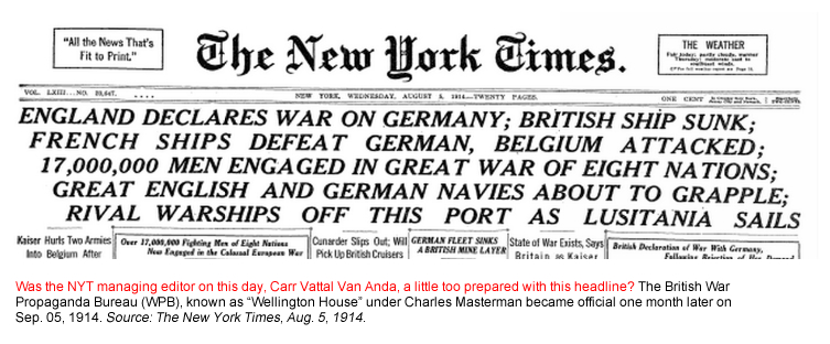 Editor. (Aug. 05, 1914). ENGLAND DECLARES WAR ON GERMANY. The New York Times.