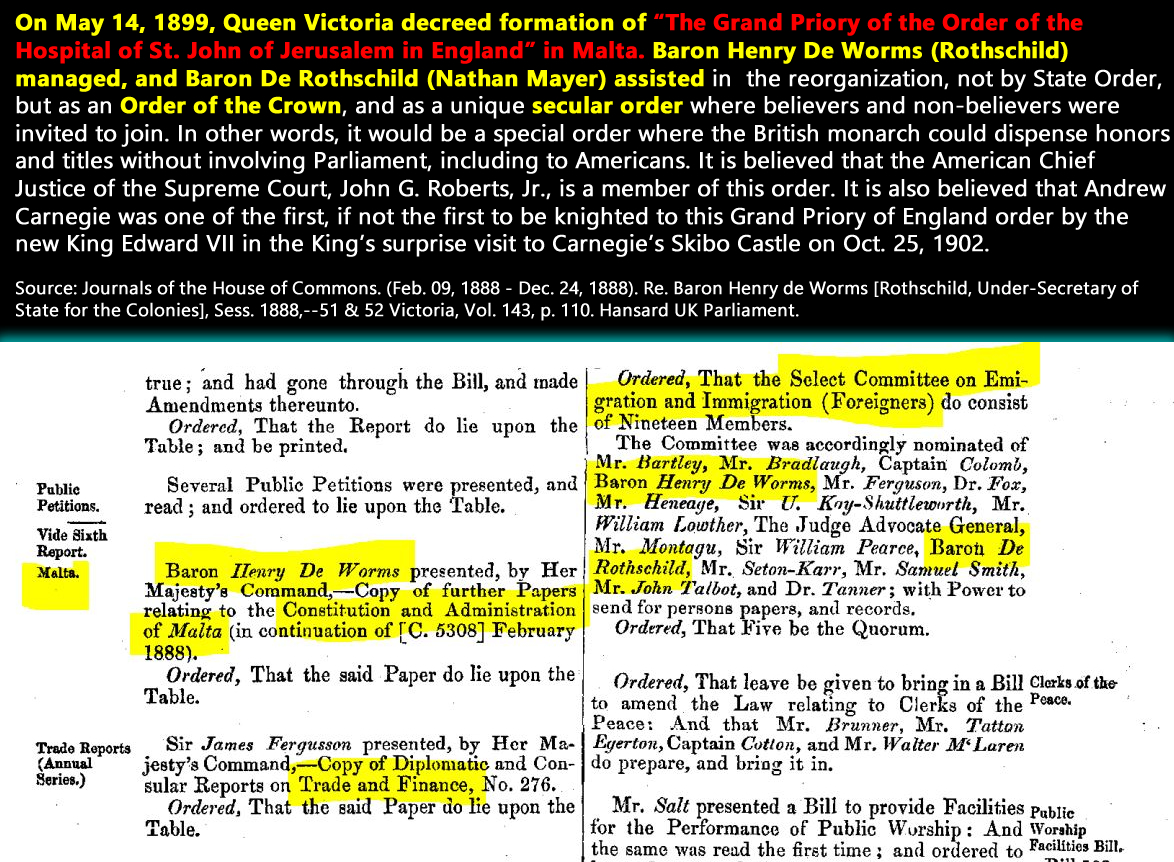 Journals of the House of Commons. (Feb. 09, 1888 - Dec. 24, 1888). Re. Baron Henry de Worms [Rothschild, Under-Secretary of State for the Colonies], Sess. 1888,--51 & 52 Victoria, Vol. 143, PDF p. 115. Hansard UK Parliament.