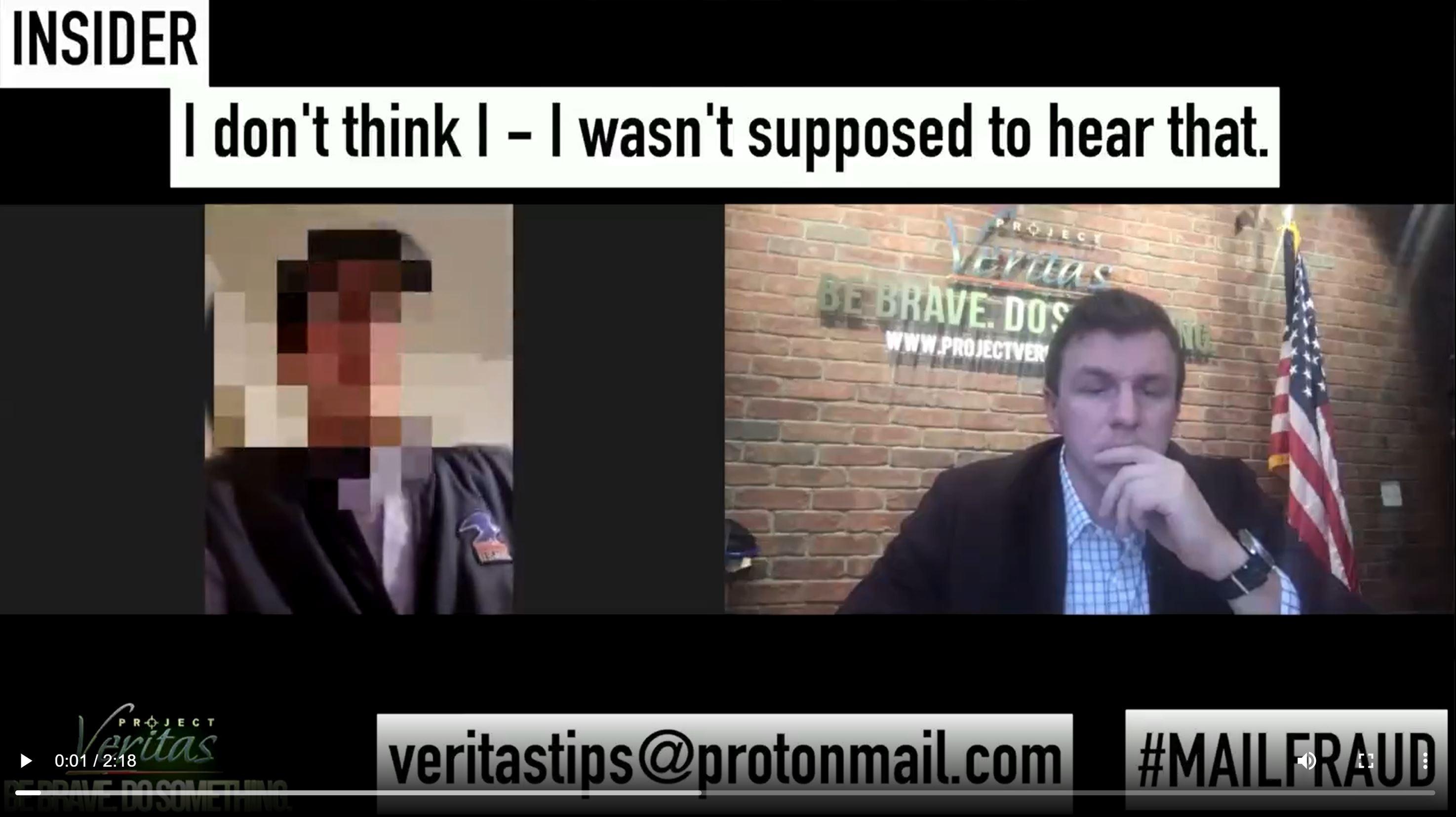 James O'Keefe. (Nov. 05, 2020). BREAKING: Pennsylvania USPS Whistleblower told to backdate ballots. Project Veritas.