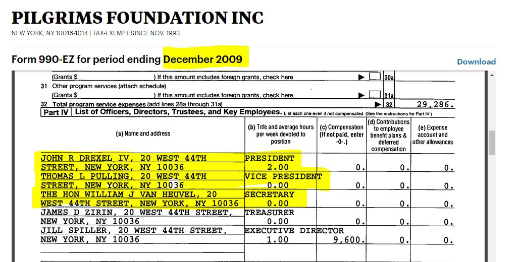 Pilgrims Foundation Inc. Form 990, Dec. 2009